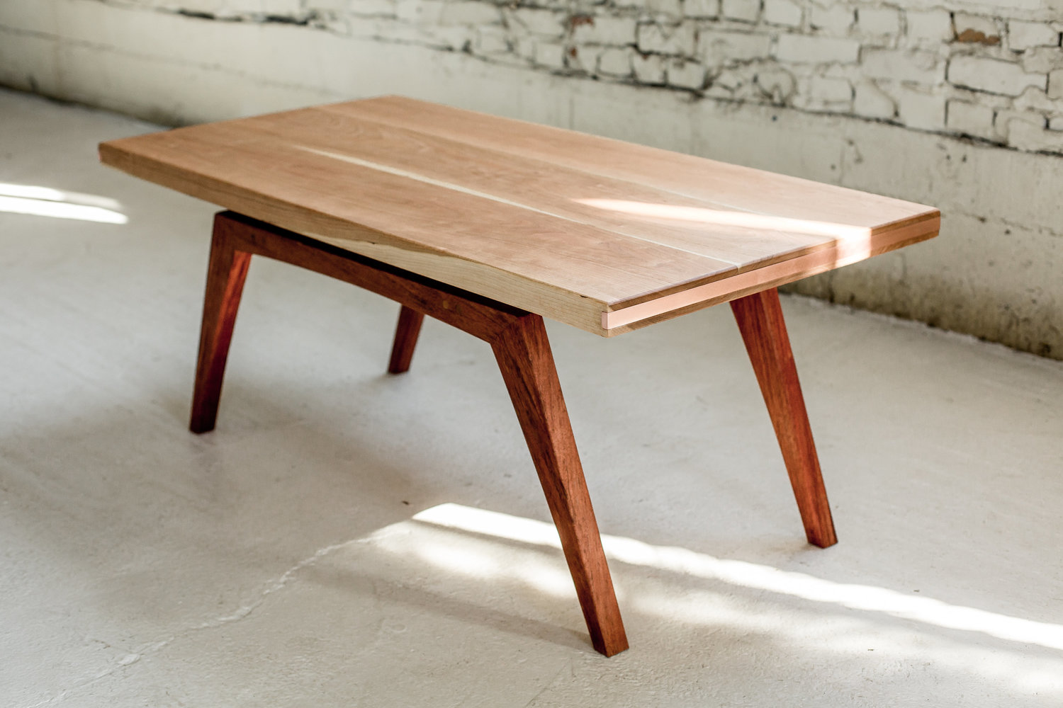 Solid Wood And Copper Coffee Table