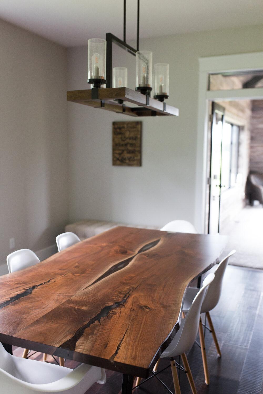 Live Edge Black Walnut Dining Table, Live Edge Dining Room Table