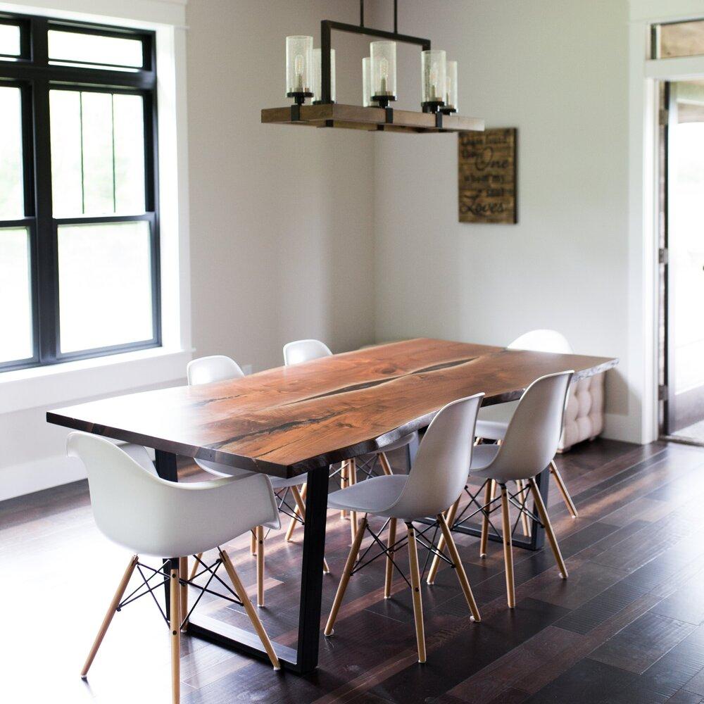 Live Edge Black Walnut Dining Table, Walnut Dining Room