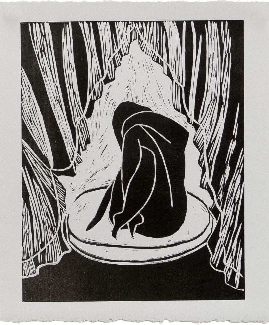 """BEHIND MY EYES 9"""" x 11"""" Lino Print on Paper Unlimited Edition $40.00 
