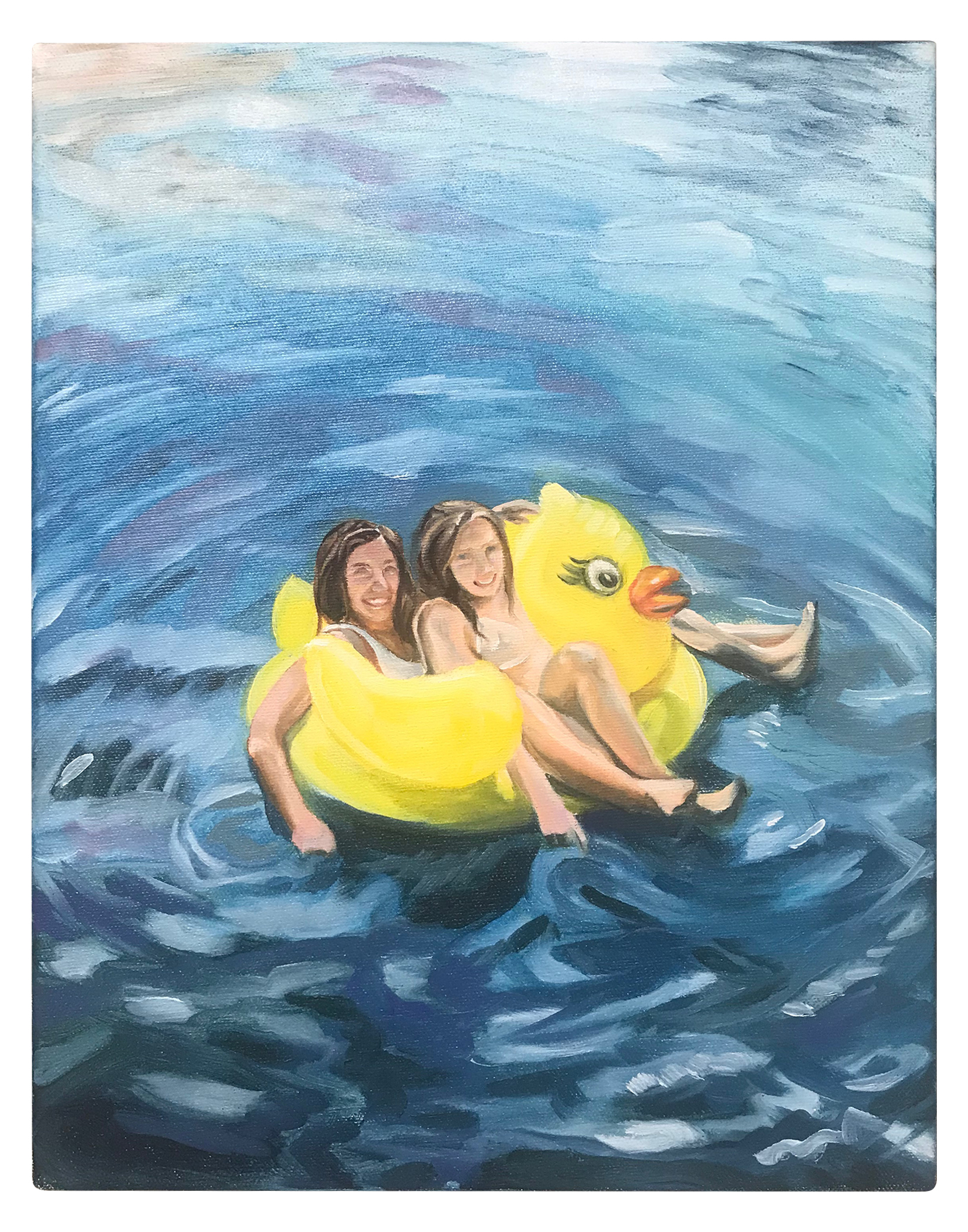 "TWO BABES FLOATING 11"" x 14"" Oil on Canvas $300.00 