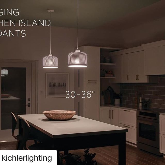 """#Repost @kichlerlighting with @get_repost ・・・ Pendants over your kitchen island adds practical task lighting and serves as a stylish centerpiece to the kitchen. Hang pendants with the bottom of the fixture 30"""" - 36"""" from the counter to avoid blocking your view. #kichler #pendants #lightingtips #doseoflight #lighting #interiordesign #renovation #newhome #custom #homefashion #islandlighting #designer#yql"""