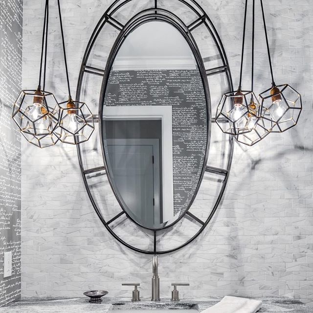 #Repost @kichlerlighting with @get_repost ・・・ Vanity lights are not your only option for the bathroom. Light your space with pendants on either side of the mirror for an unexpected dose of light. ⁣ 💡: Rocklyn #lighting #interiordesign #designer #homefashion #newhome #renovation #custom #wow #cool #yql #bathroomremodel