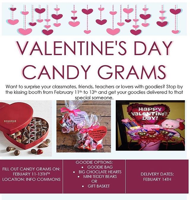 Want to surprise your classmates, friends, teachers or lovers with goodies and have it delivered to them on campus this Valentines Day? Come on by to the info commons and get signed up.  12-3 pm TOMORROW! 10-12pm Wednesday  See you there!
