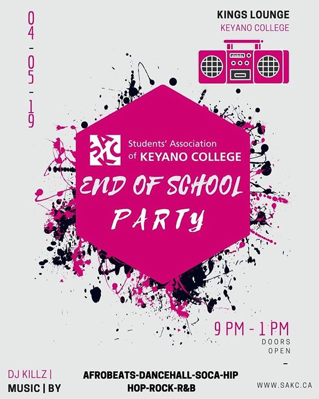 Everybody come out to the end of school year party @kings.sakc and let's end the semester the right way 😎🥳 #april5