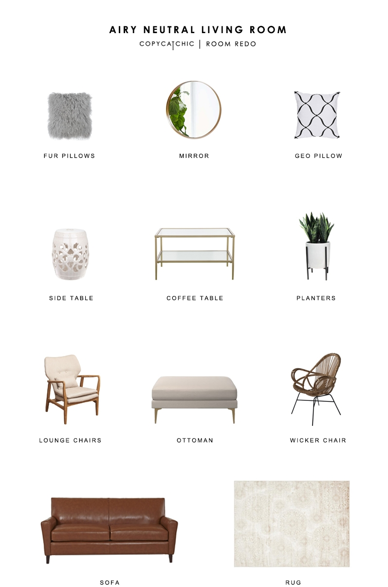 FUR PILLOWS   (EA) $57 |   MIRROR   $50 |   GEO PILLOW   (2) $47 |   SIDE TABLE   $98 |   COFFEE TABLE   $180 |   PLANTERS   (EA) $45 |   LOUNGE CHAIRS   (EA) $190 |   OTTOMAN   $599 |   WICKER CHAIR   $330 OR   THIS ONE   $299 |   SOFA   $970 |   RUG   $214 OR   THIS ONE   $280  This gorgeous, vote-winning living space is brought to you by designer Katherine Carter. Featuring chic neutral pieces that tie in beautifully with the room's architecture, this spot looks absolutely perfect for both relaxing and entertaining. Leather, fur, and fabric mix to create a cozy atmosphere, while the four different seating options provide plenty of room for guests. I'm envisioning a rousing game night in this place — anyone else?