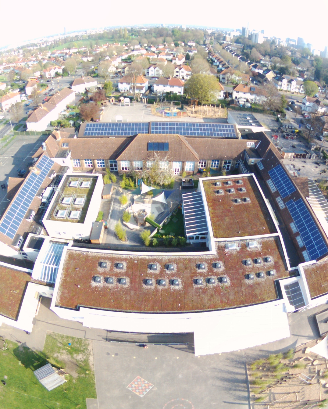 View of the new Solar PV installation from a Drone