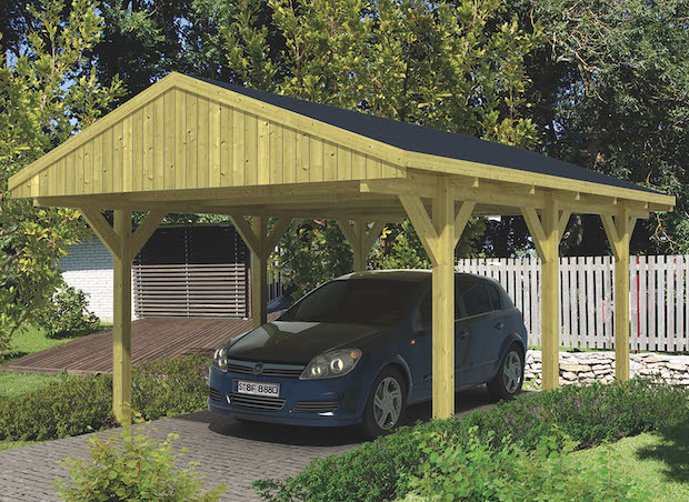 Pitched Roof Car Port 3 x 6m with 4KWp Solar PV System