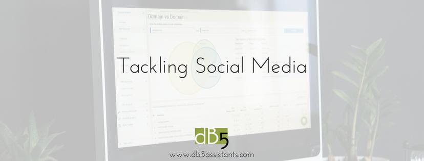 """Done by 5. DB5. Virtual assistants. San Francisco Bay Area. Blog: """"Tackling Social Media."""""""