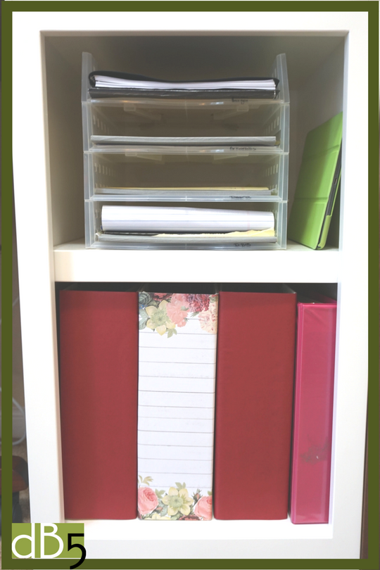 My small shelf with letter organizers stacked and magazine holders covered with scrapbook paper.