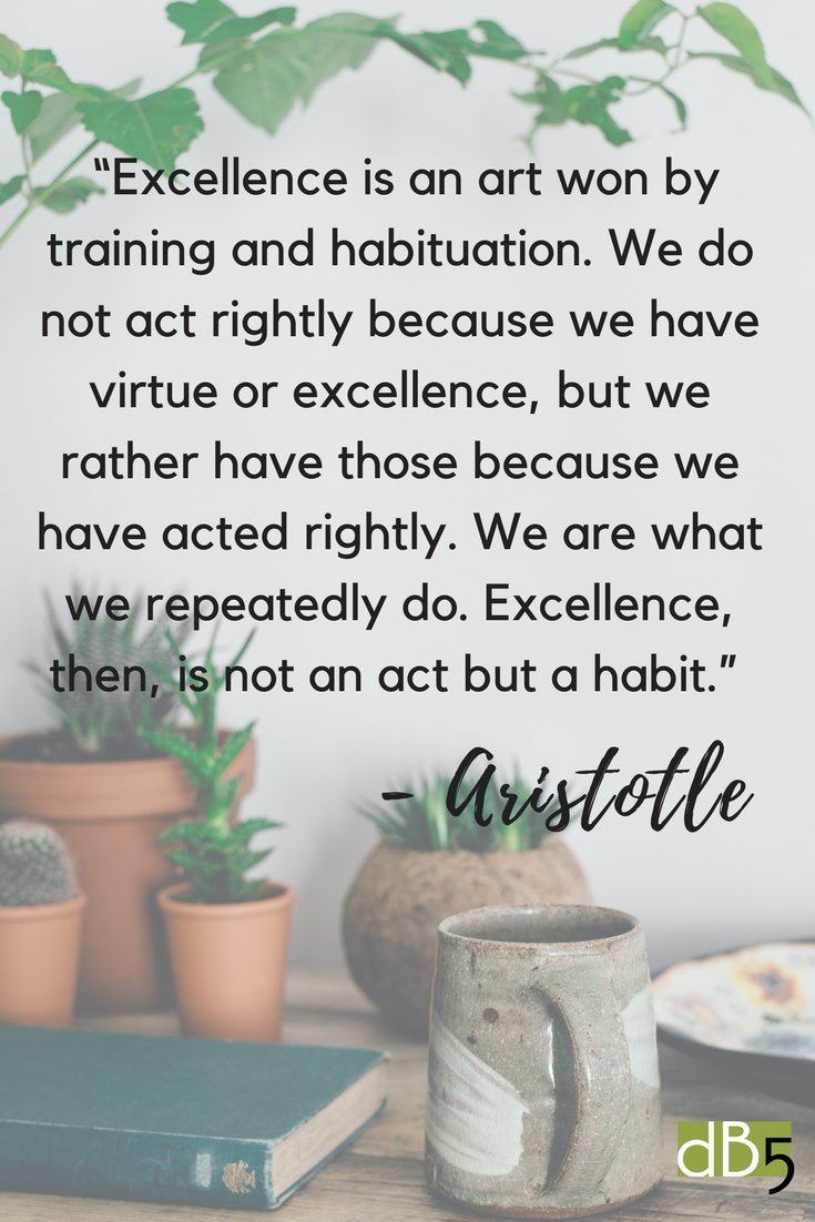 Done By 5 Blog, Artistotle Quote on Habits and Virtue, Virtual Assistant, Small Business, San Francisco Bay Area