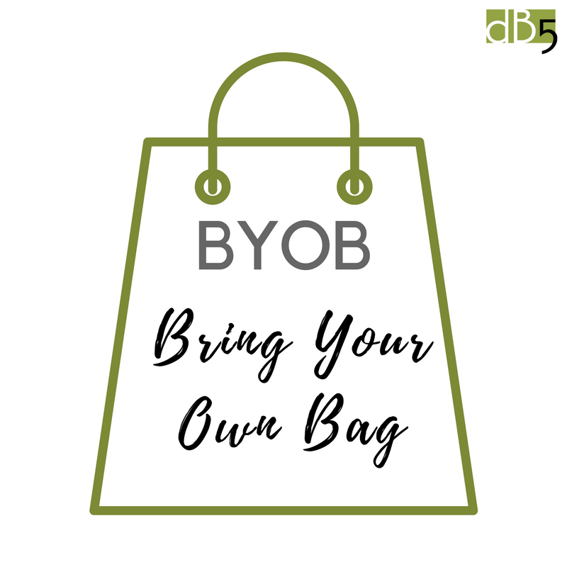 """Done By Blog, """"BYOB: Bring Your Own Bag"""" Blog Graphic. Virtual Assistants Small Business. San Francisco Bay Area."""