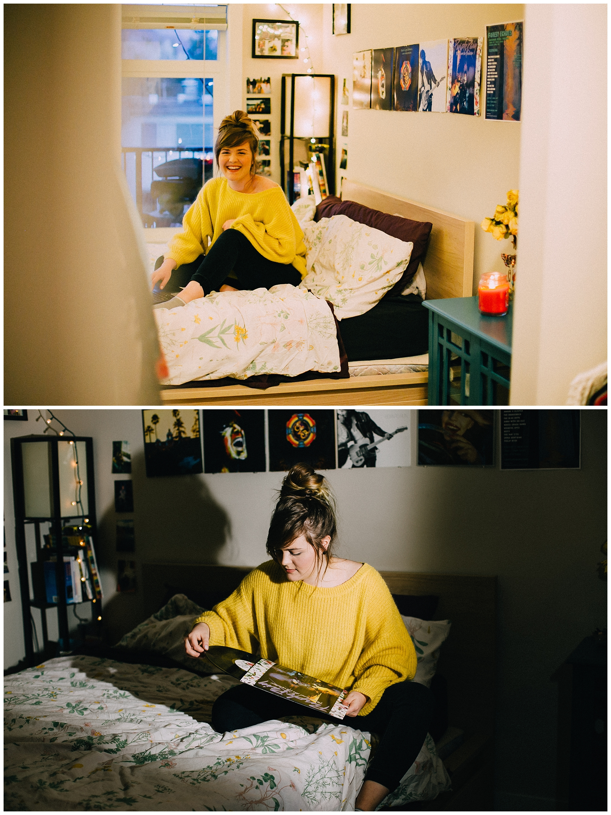 Before and after lighting: Image one is natural lighting in the apartment, image two is with one speedlite.