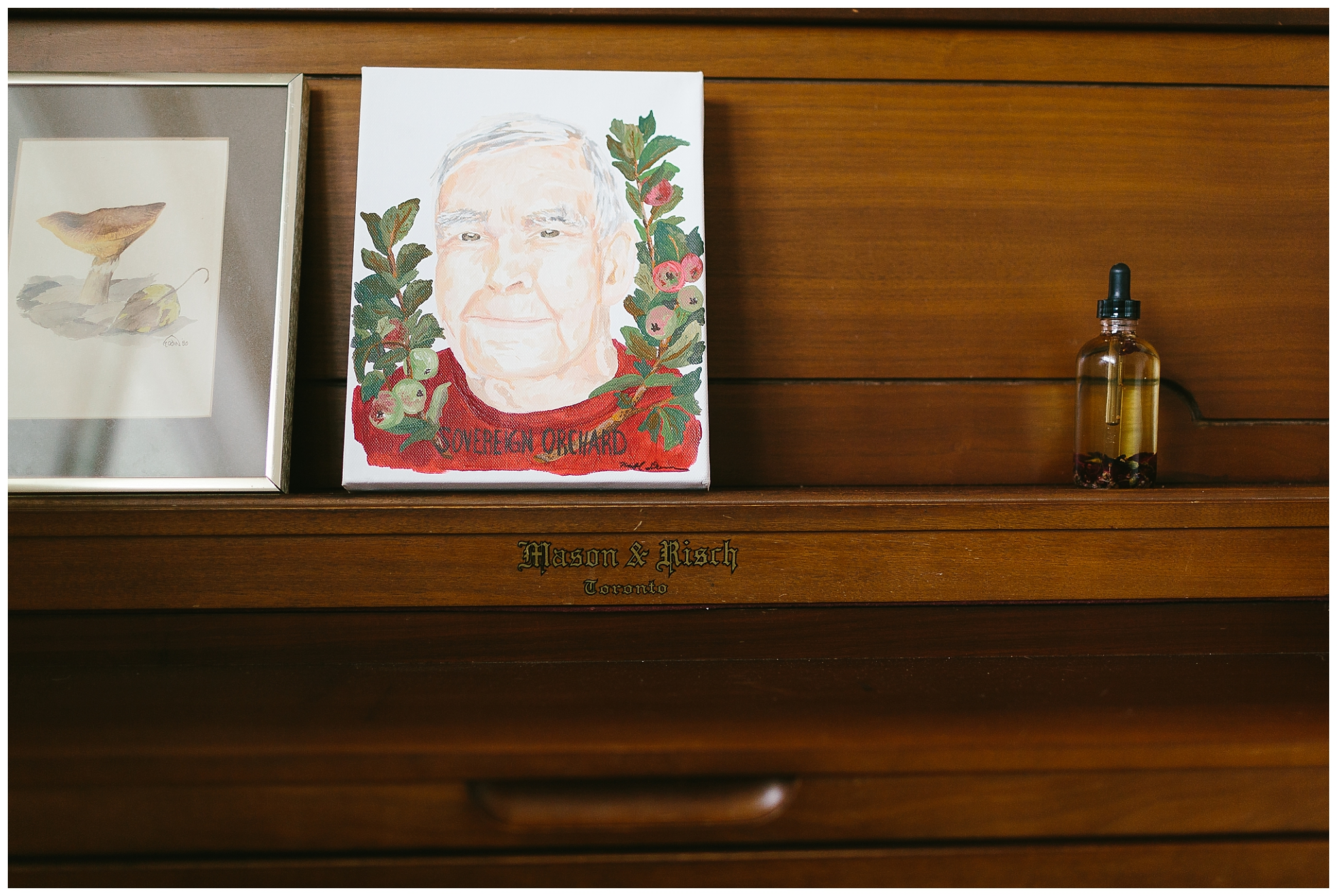 Sweet little Godin mushroom print is thrifted, and the painting of my Grandpa is by Nichol Duenes of A Vintage Cloud.