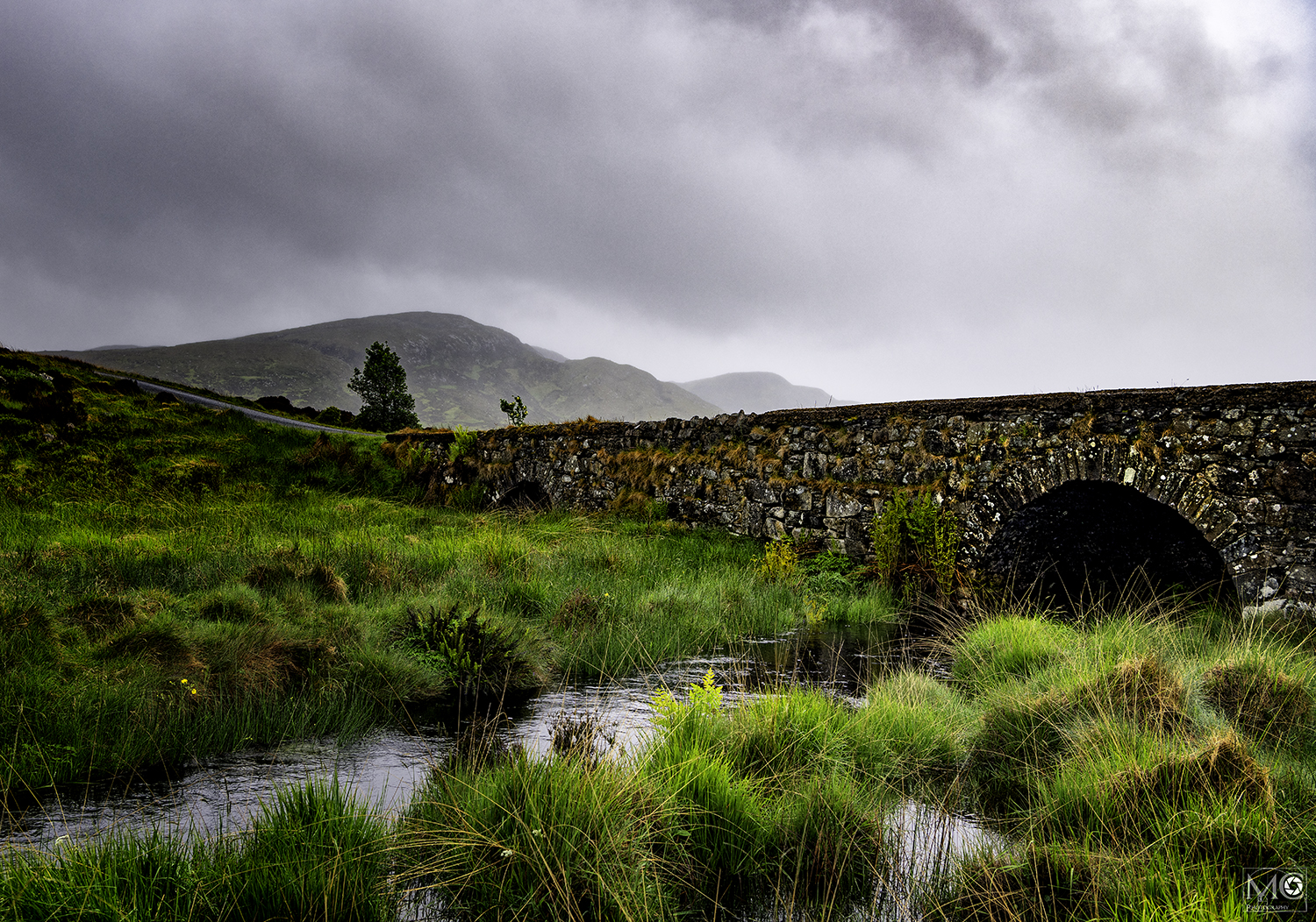 Stone bridge across a river near the Glenveagh National Park, Letterkenny, Co. Donegal, Ireland