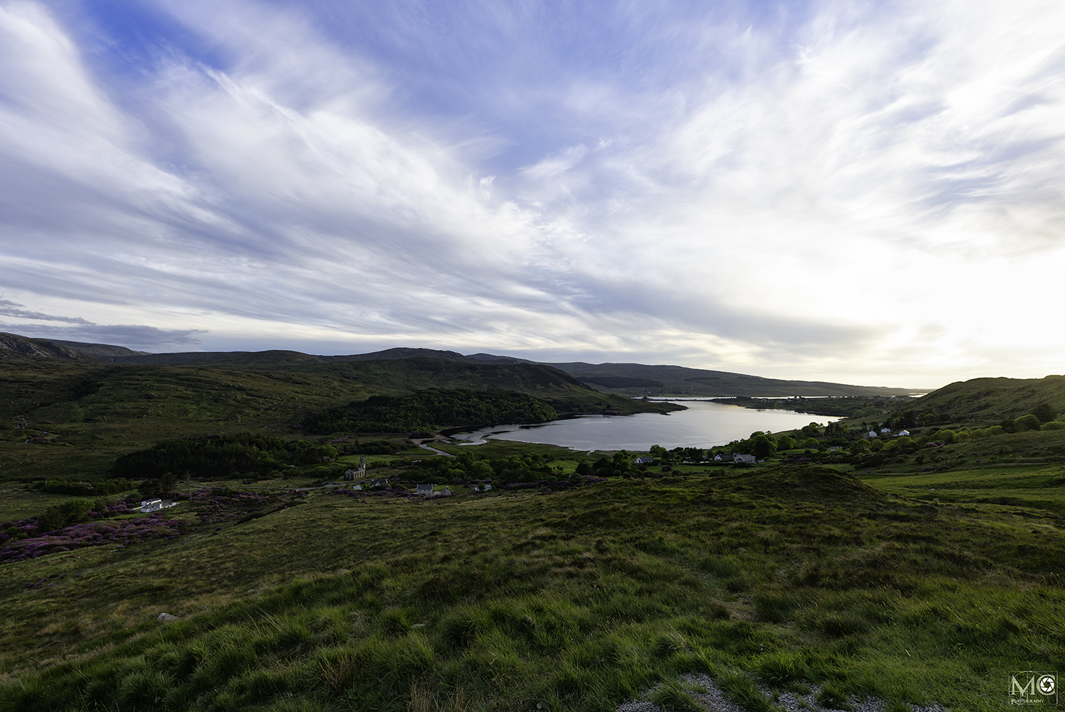 View to the village of Dunlewey and Lough Nacung Upper, Co. Donegal, Ireland