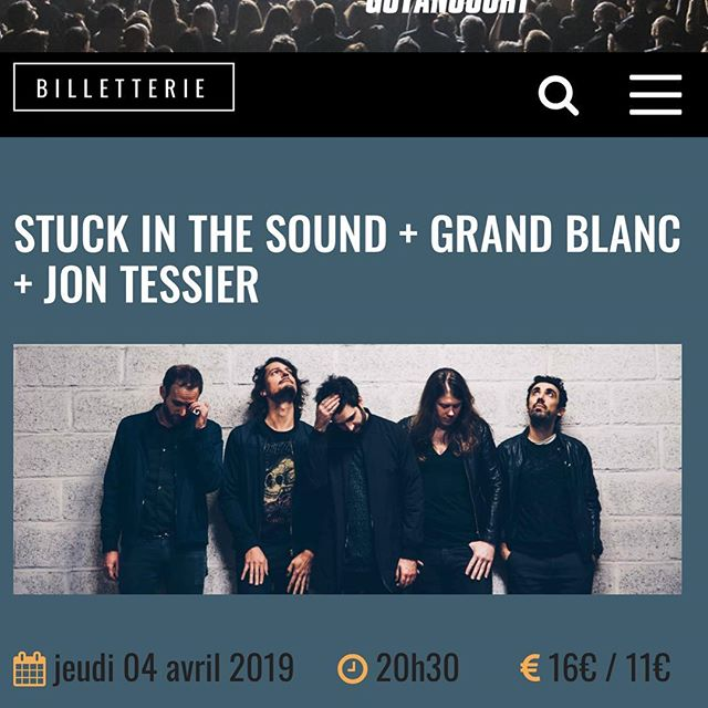 "Venez au concert de @stuckinthesoundofficial et @grndblnc à ""La Batterie de Guyencourt"" où j'ai l'honneur de faire la première partie 🍾🎸🤘🙂 (cf infos sur facebook). Eng: Come enjoy some rock n roll with @stuckinthesoundofficial @grndblnc and myself next thursday (april 4th) at ""La Batterie de Guyencourt""! 🤘👍🙂 . . . #labatteriedeguyancourt #stuckinthesound #grandblanc #jontessier #guyencourt #rock #rocknroll"