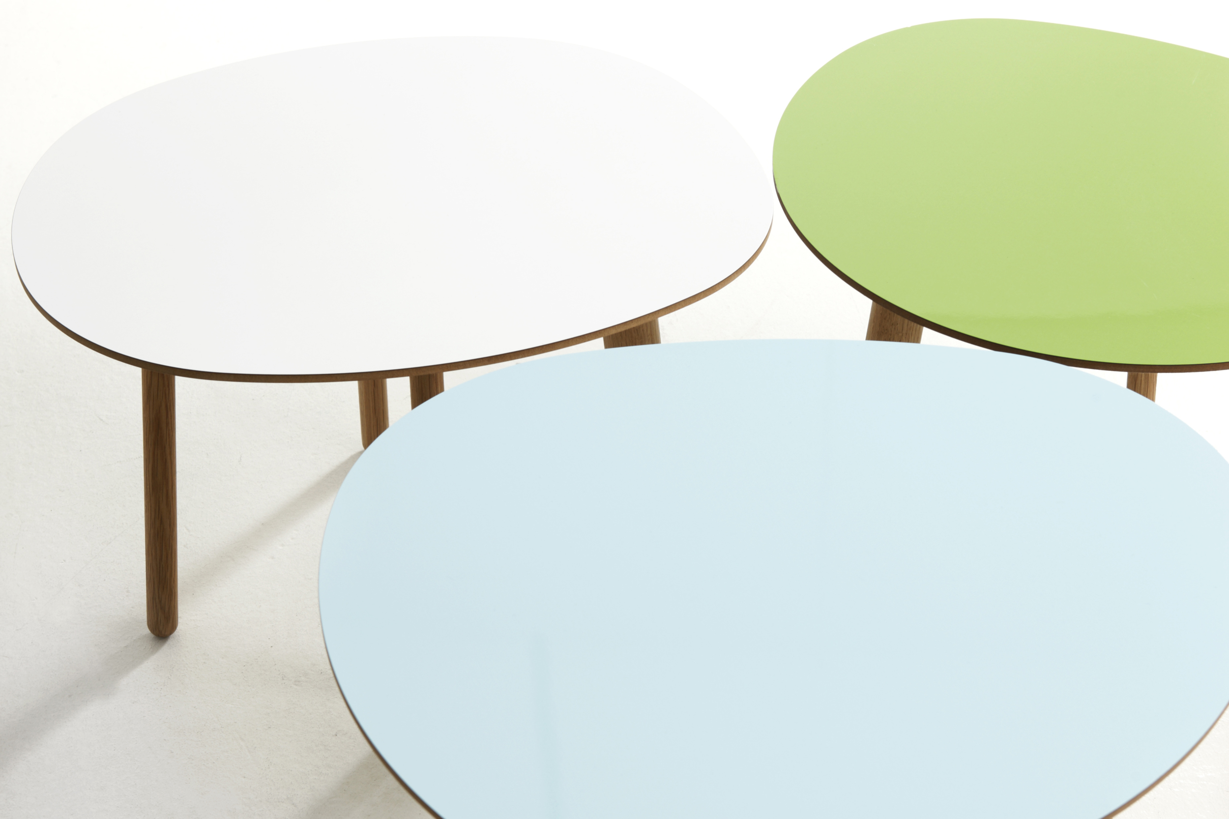 Morris coffee table model 2 in white, model 5 in apple green and model 1 in lagoon blue