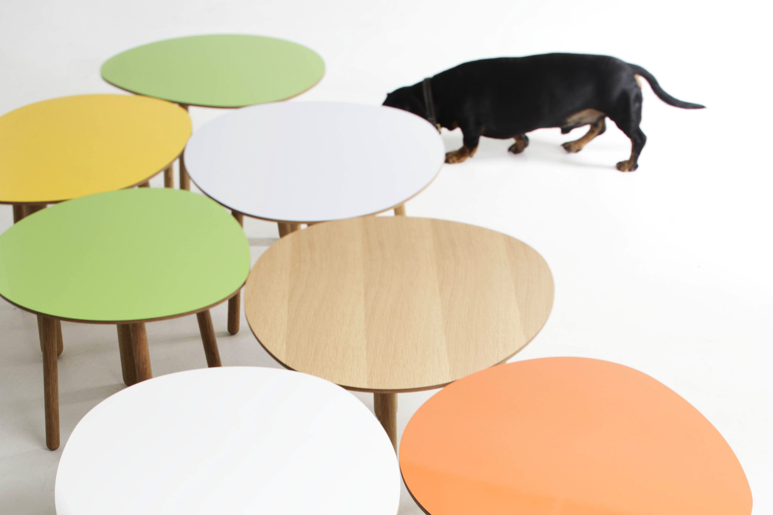 Morris coffee tables in apple green, yellow, white, oak and orange