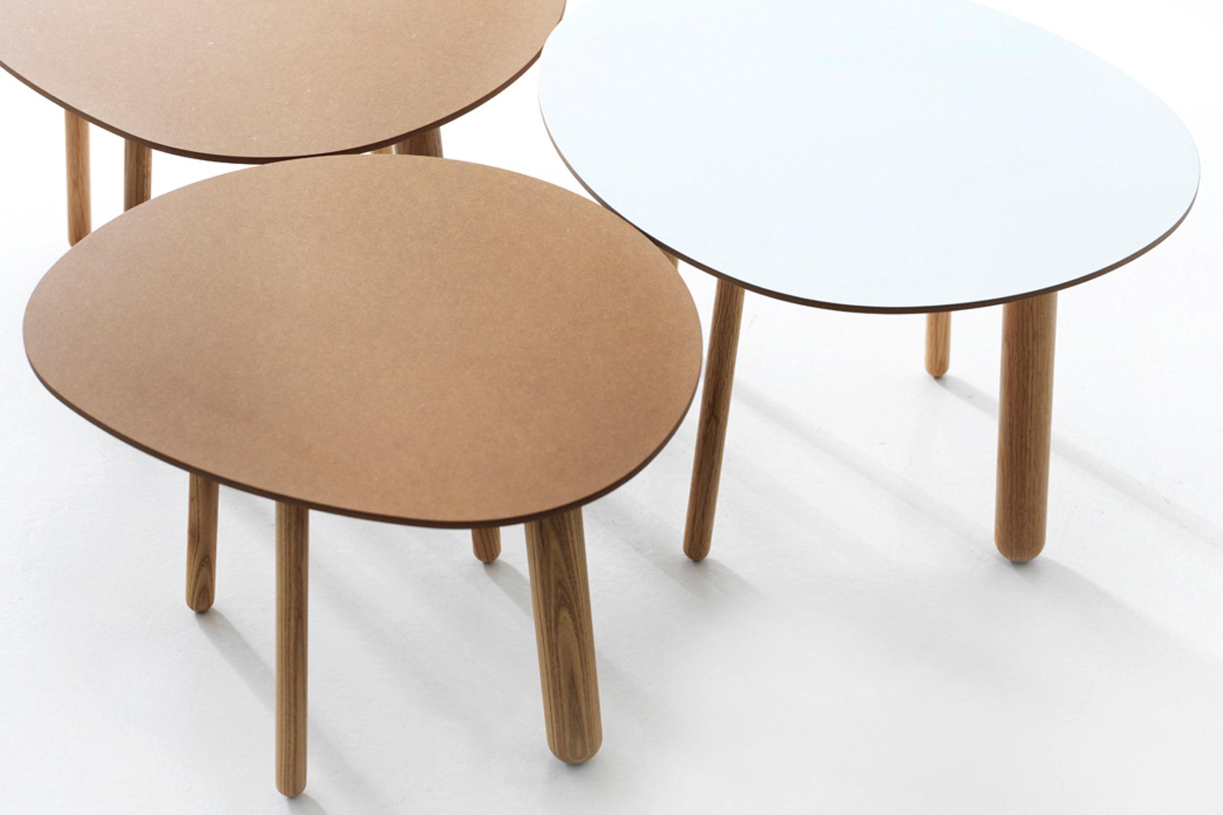 Morris coffee table model 1 in mdf, model 5 in mdf and model 6 in white