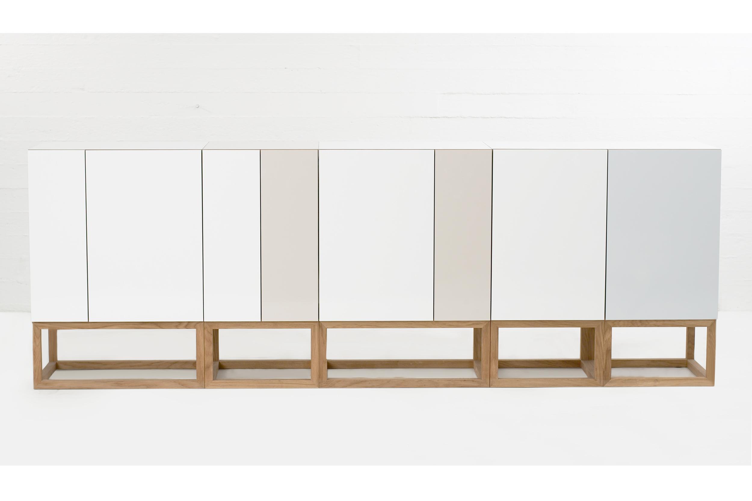 Habitek stipe cabinet in white, beige and lagoon blue