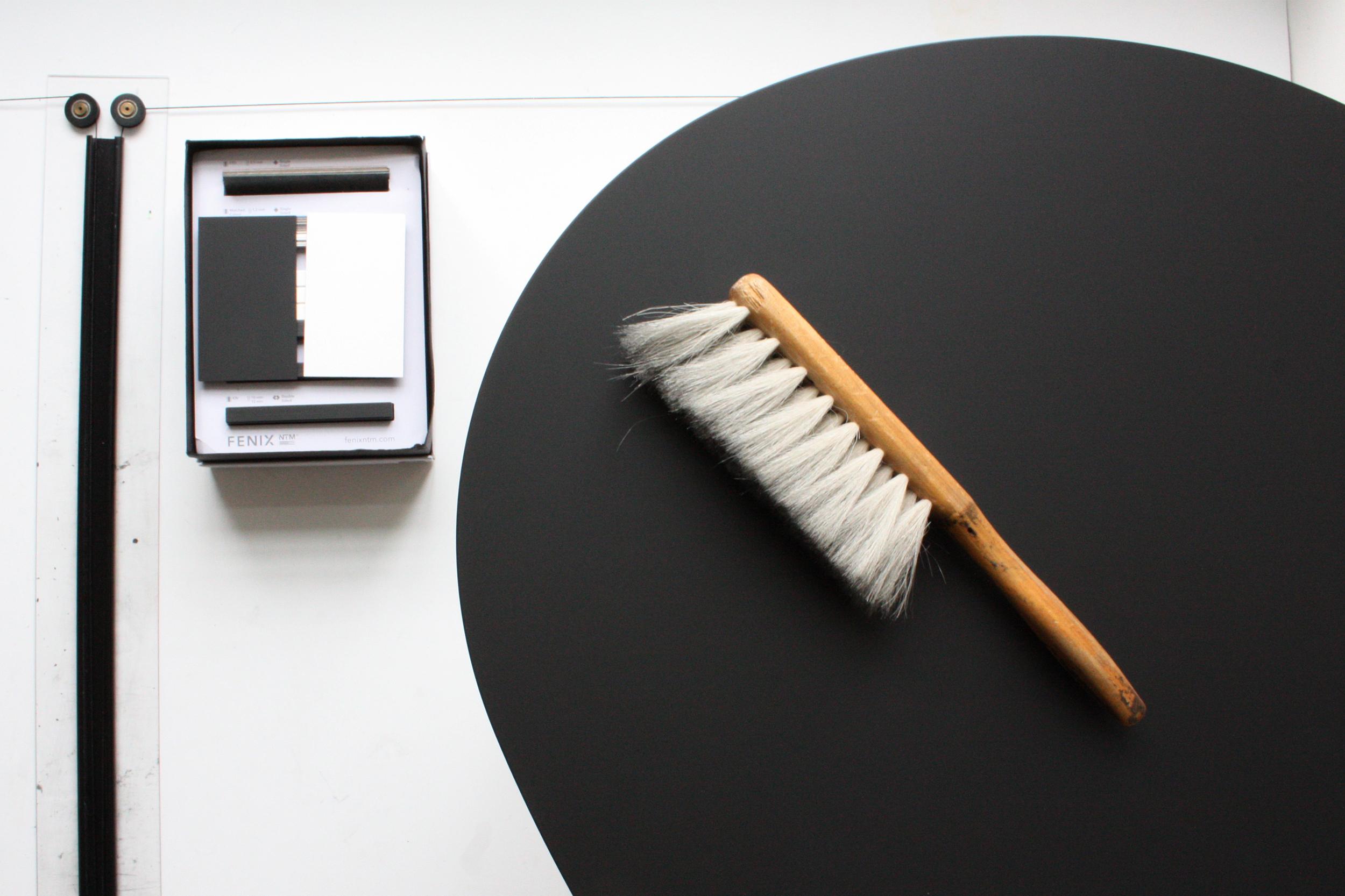 Morris coffee table model 1 in super matte black Nano laminate