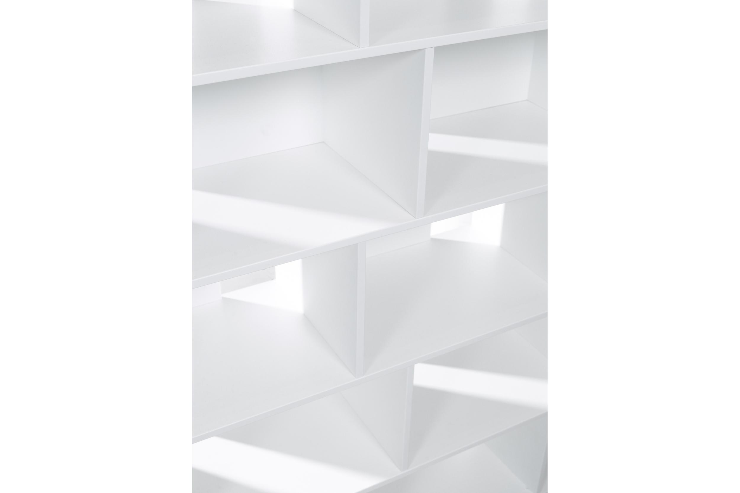 Closeup of Habitek Samarkand bookcase in white