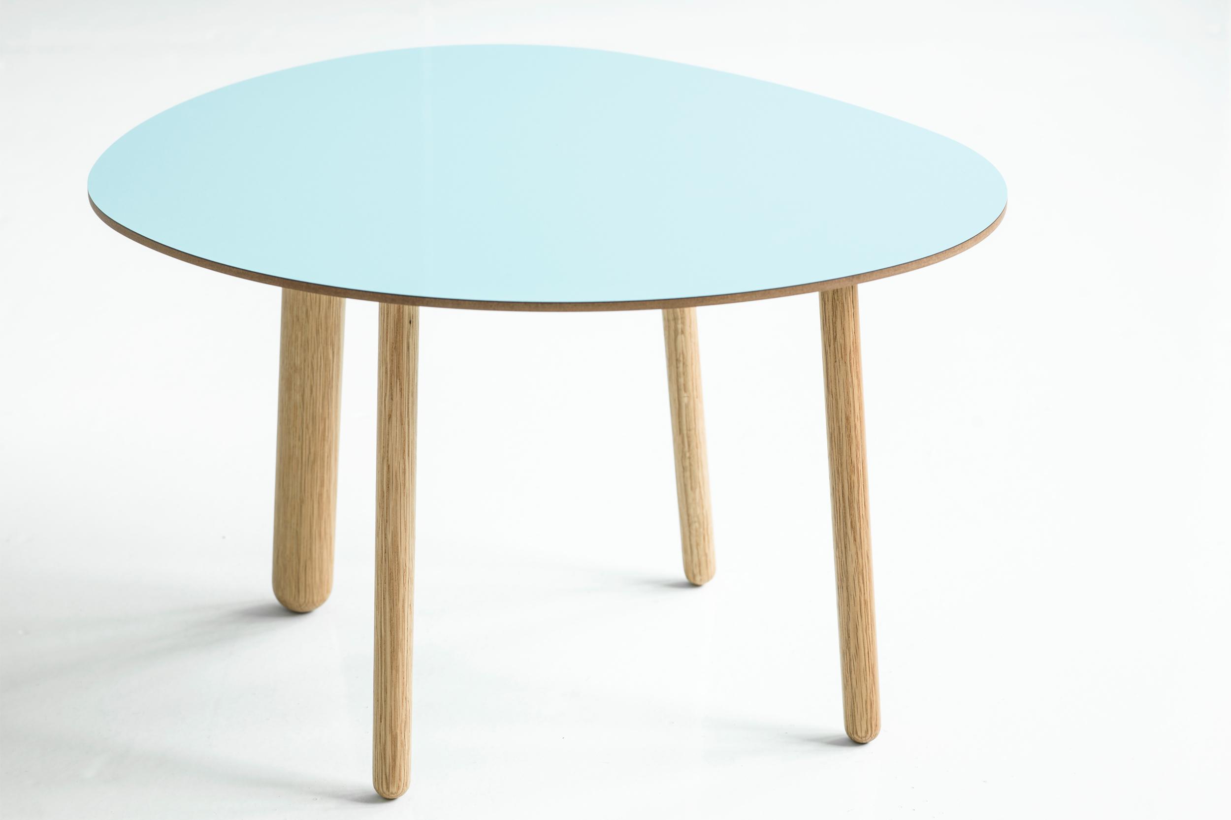 Morris coffee table model 1 in glossy lagoon blue
