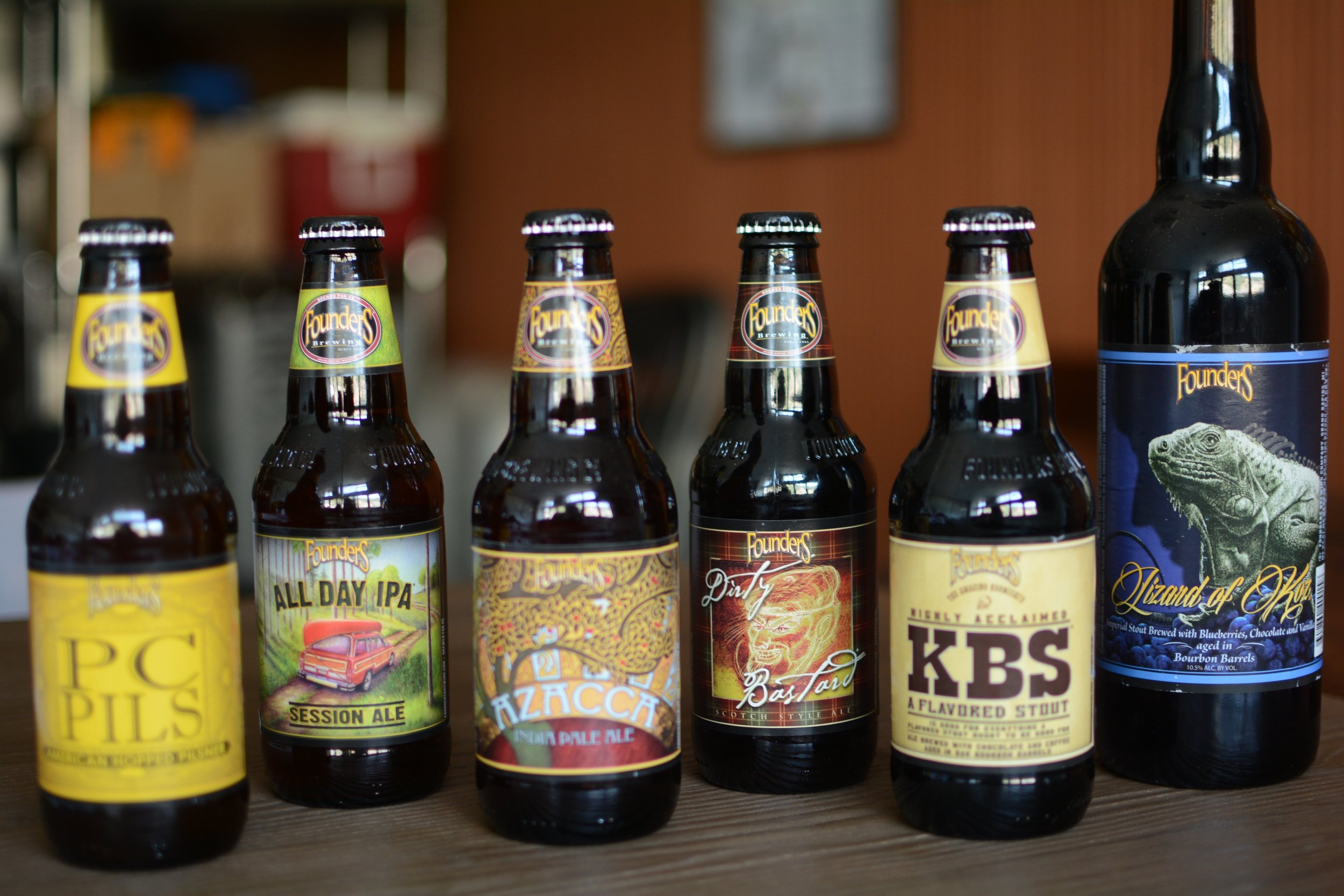 The line-up of beers for the Founder's Tasting event.