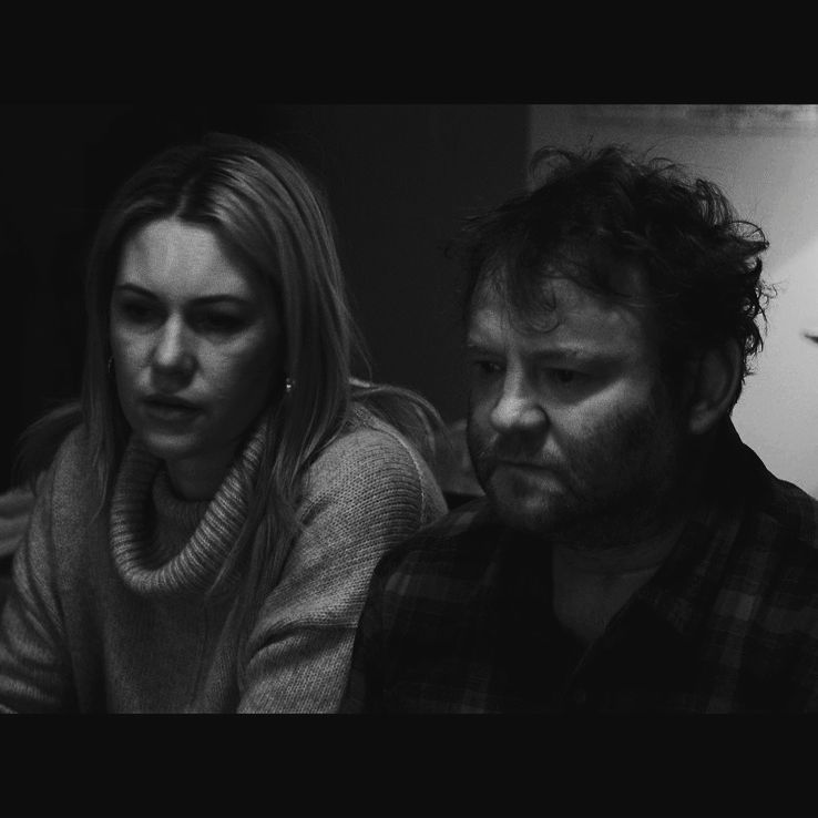 Still from the film - Polly (Krista Vendy) and Eugene (Peter D Flaherty) talk.