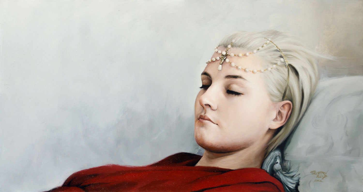 Red Dress 2, oil on panel,