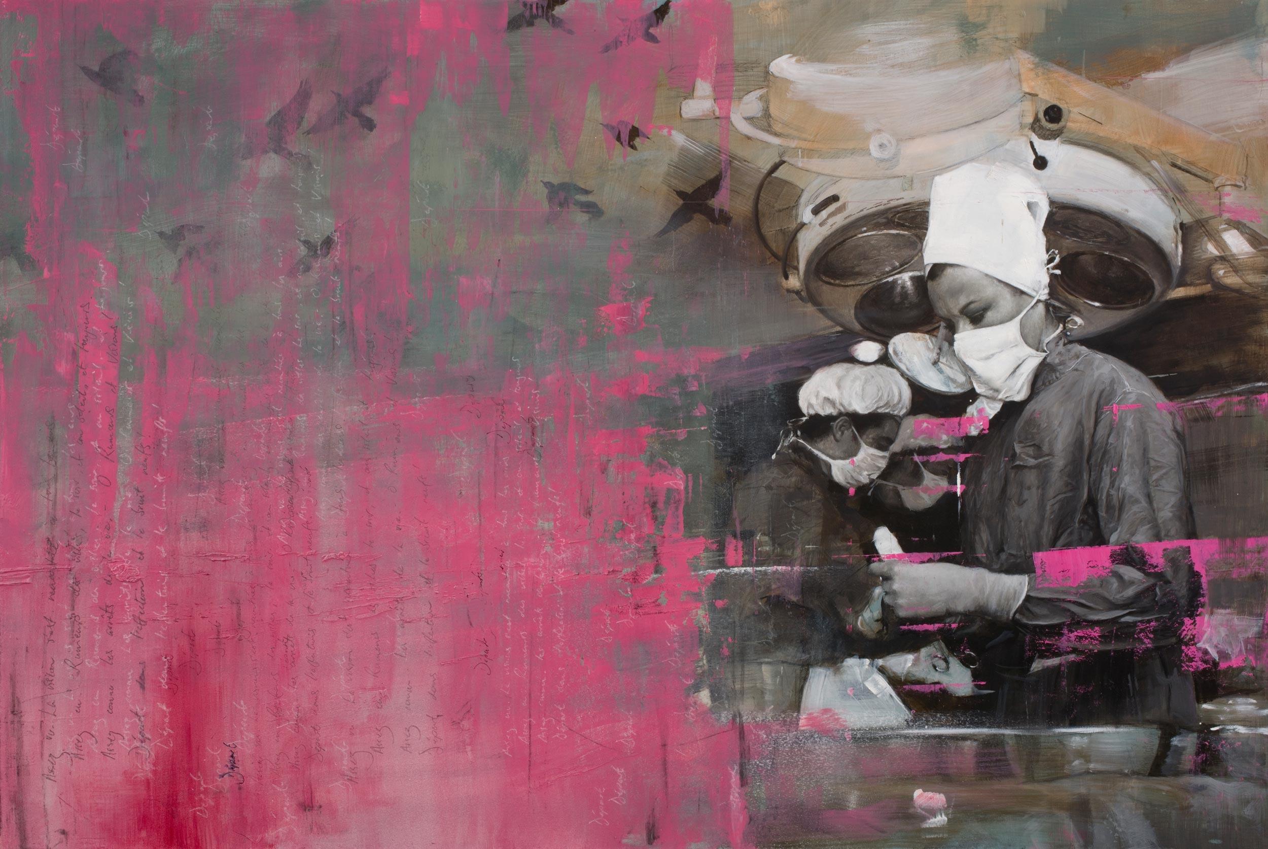 Départ, oil, pastel, graphite on panel, 2017