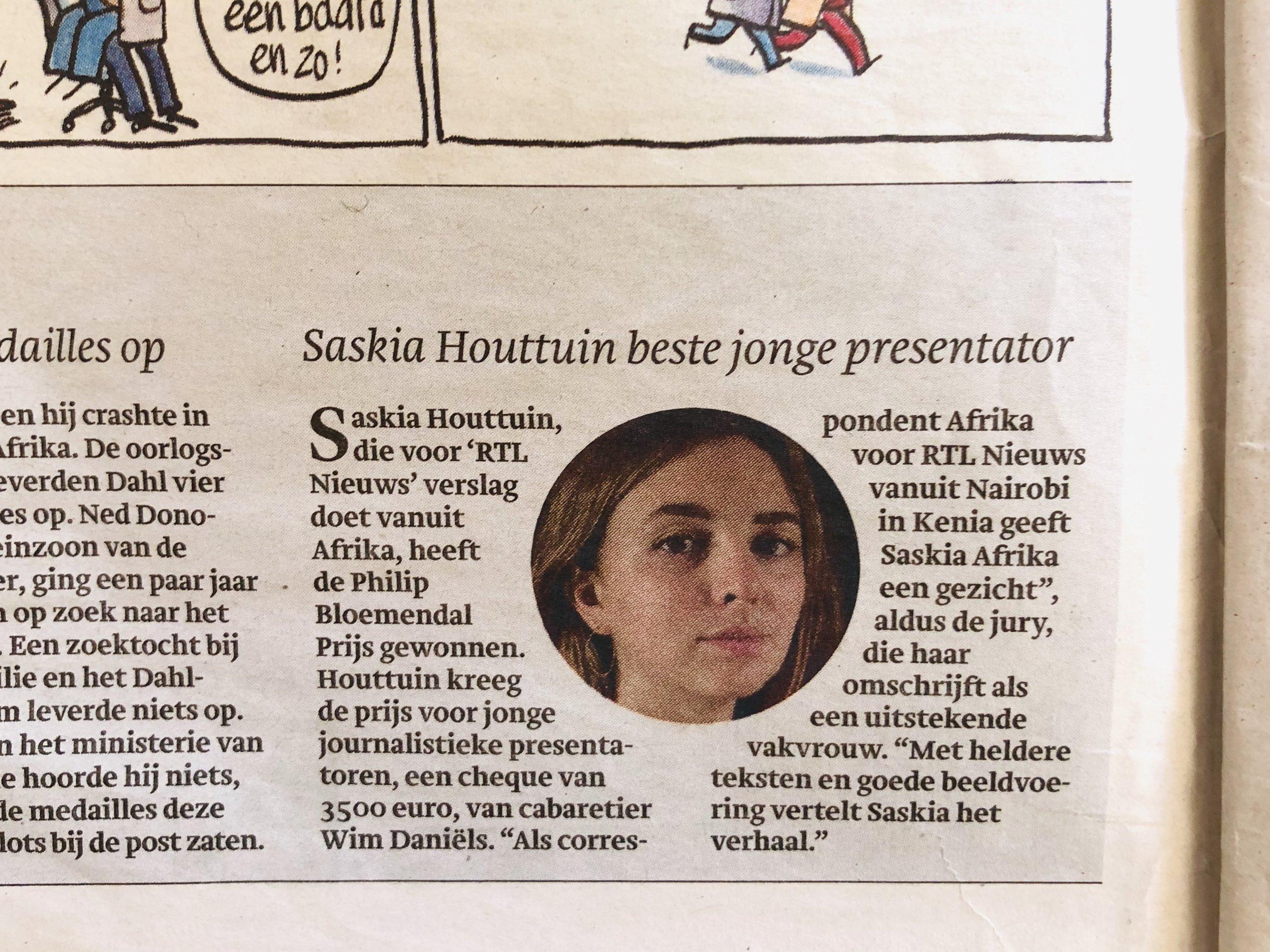 Afrika-correspondent Saskia Houttuin, in Trouw newspaper by Joost Bastmeijer.jpg