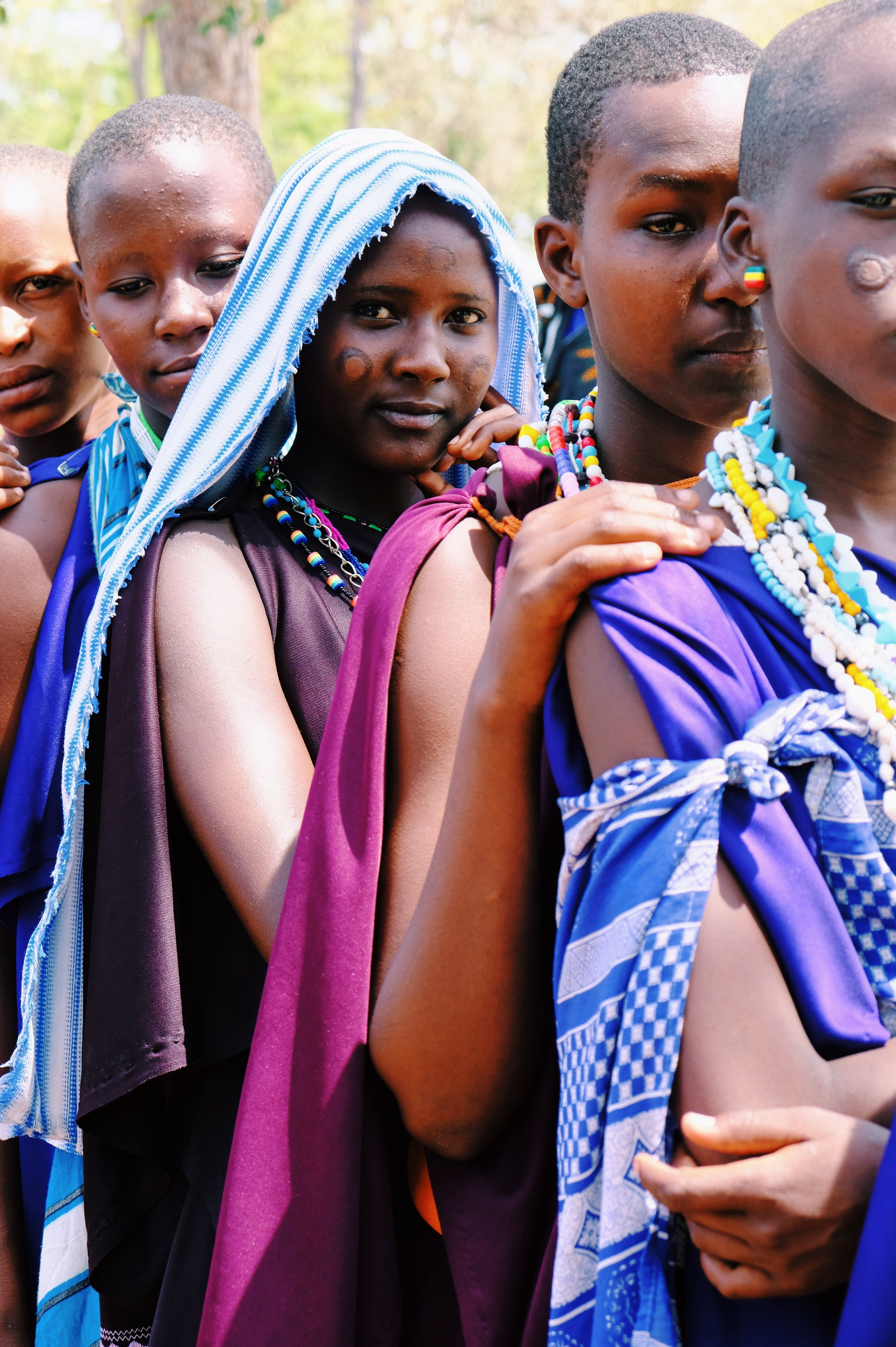 Masai girls line up for lunch.JPG