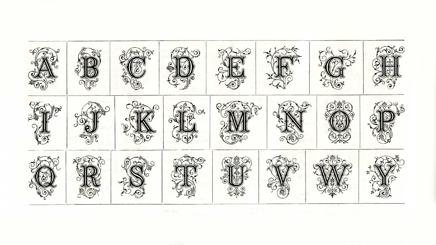 Example scans from a royalty-free book on stock decorative typography