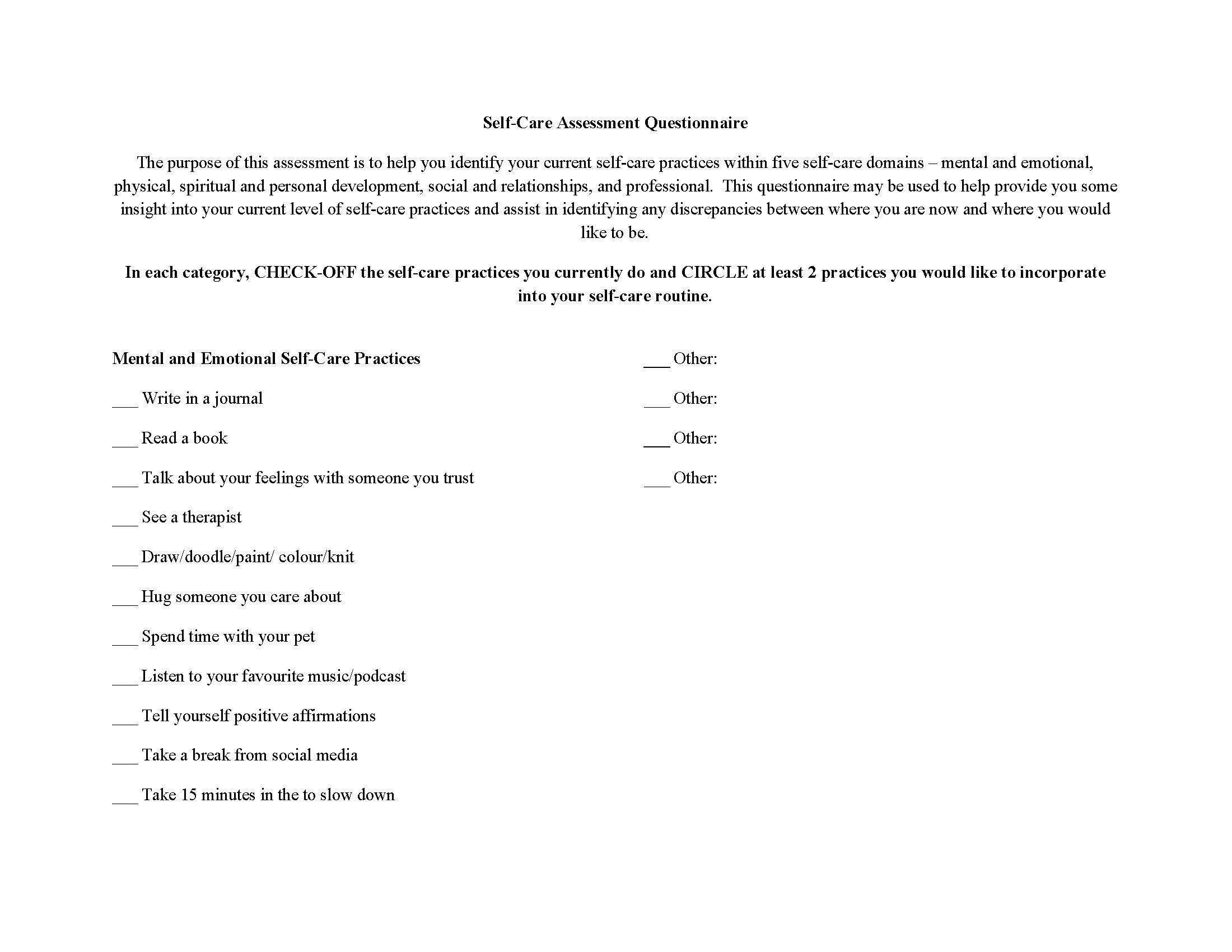 Self-Care Questionnaire