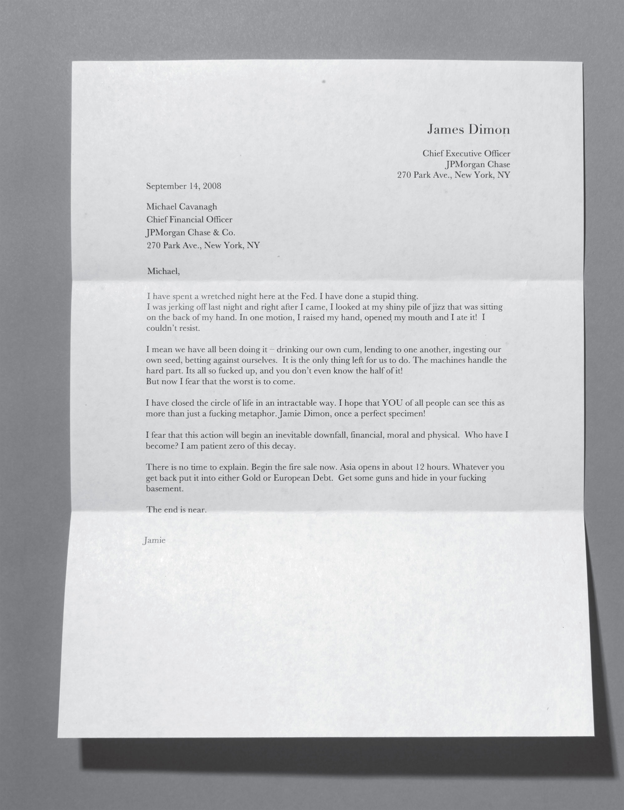 Letter to Michael Cavanagh