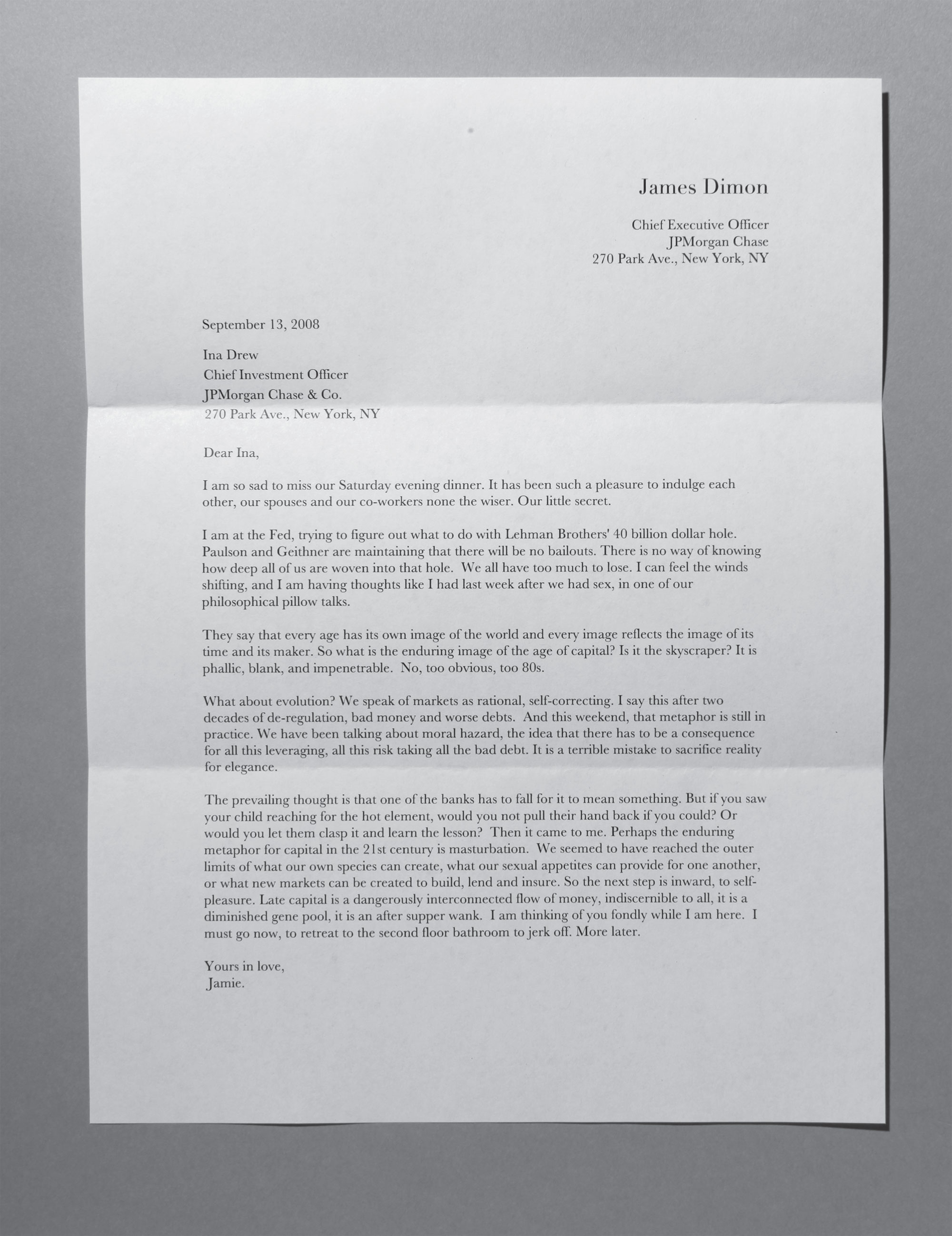 Letter to Ina Drew