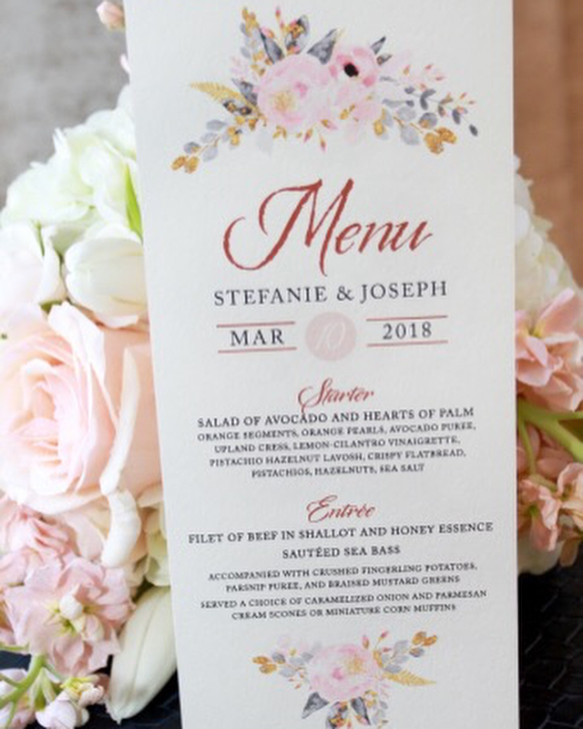 Thank you Stefanie for sending these prof photos over! Your big day looked absolutely beautiful. #weddingmenu #blushwedding
