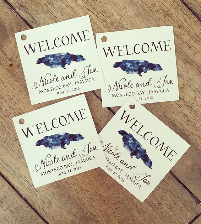 #wedding tags with #thermography print for a #destinationwedding
