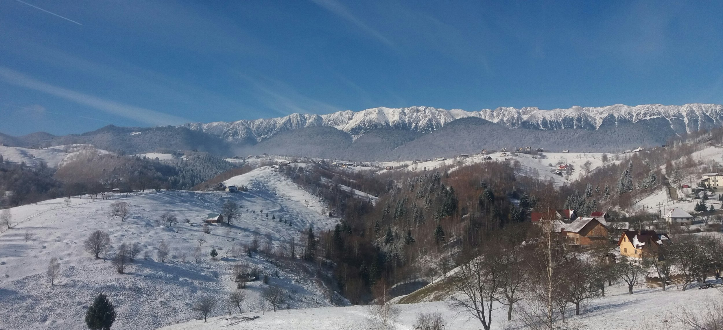 View With Mountains And Snow In Transylvania