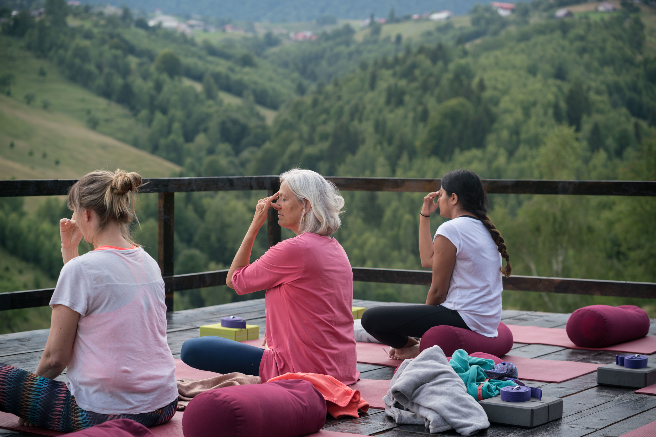Breathing Techniques Practice at Akasha Retreat