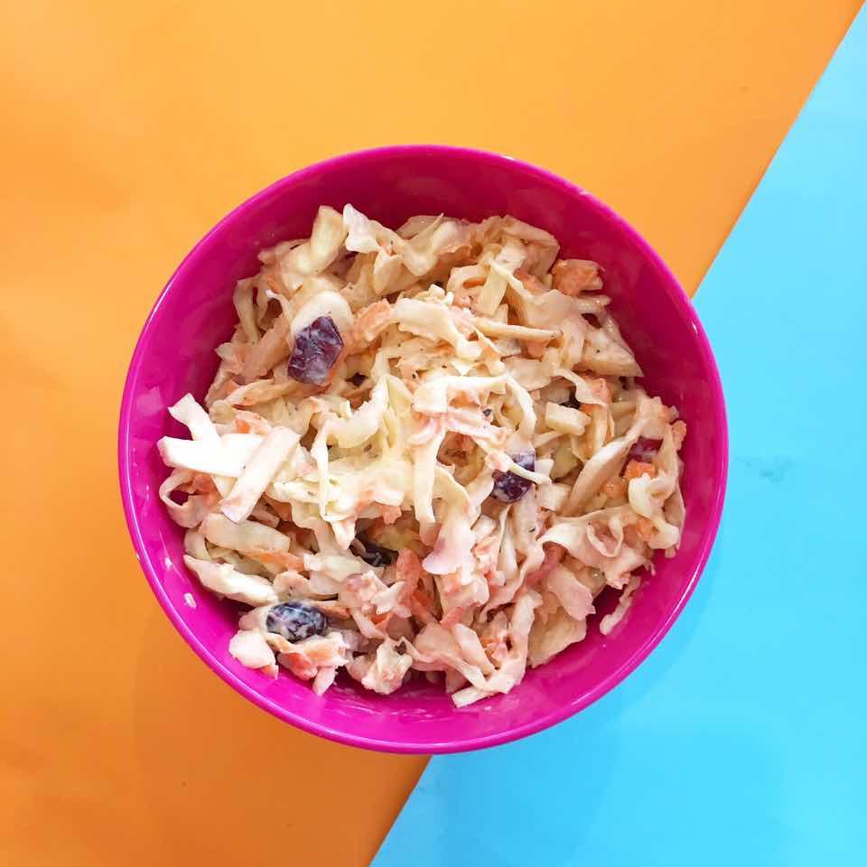 (gluten free, nut free, soy free)     apple, cranberry, carrot, cabbage, greek yogurt, honey, apple cider vinegar, dijon mustard, salt & pepper