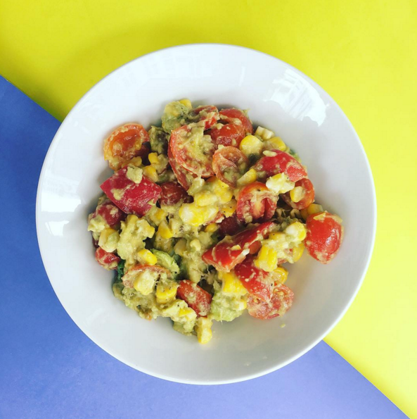 (gluten free, dairy free, nut free, soy free)     avocado, bell pepper, cherry tomato, sweetcorn, lime, honey, salt & pepper