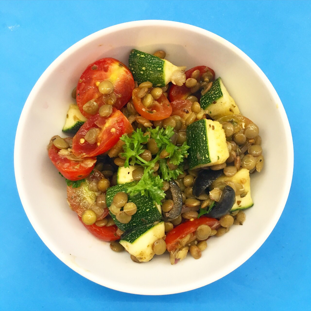 (gluten free, dairy free, nut free, soy free)     zucchini, cherry tomato, lentil, lemon, olives, onion, olive oil, oregano, salt & pepper
