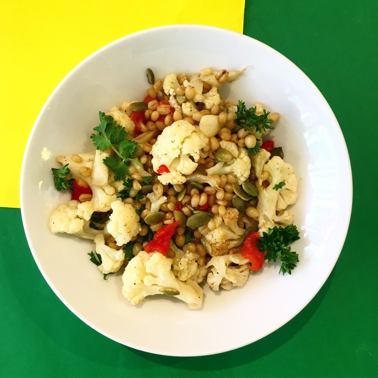 (dairy free, nut free, soy free)    cauliflower, red pepper, wheat berry, coriander, parsley, pumpkin seeds, lime, honey, olive oil, salt & pepper
