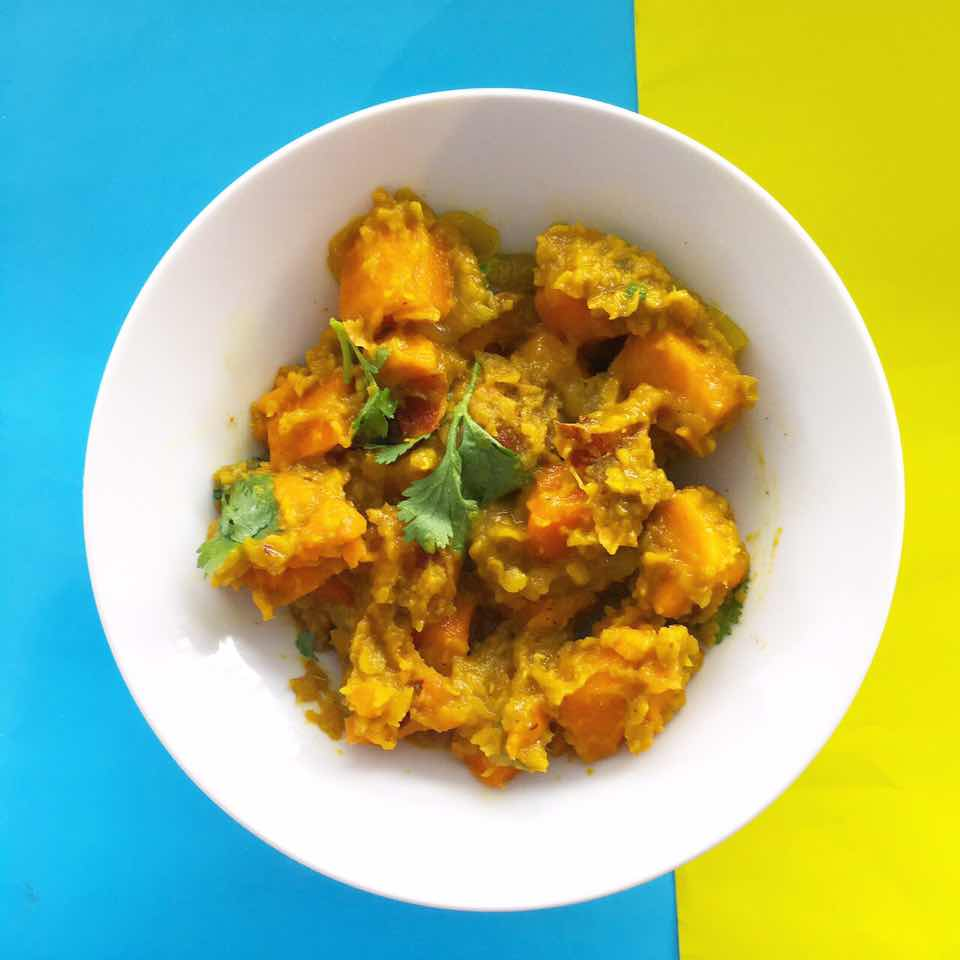 (gluten free, dairy free, nut free, soy free)     sweet potato, carrot, red lentil, curry powder, onion, garlic, coriander, coconut oil, salt & pepper