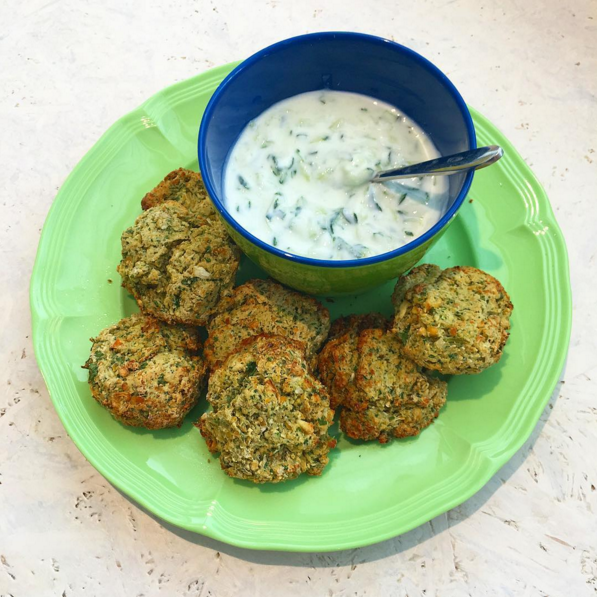 (dairy free, nut free)     chickpea, garlic, onion, plain flour, baking powder, parsley, coriander, olive oil, salt & pepper     Dip made from yogurt & cucumber      (request without dip for Vegan + Dairy Free option)