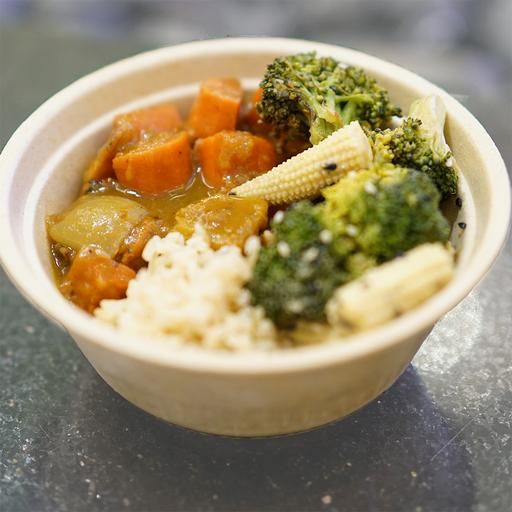 Japanese Vegetable Curry (with side) - Pumpkin, carrot, onion, garlic, apple, japanese curry mix, olive oil, salt & pepper