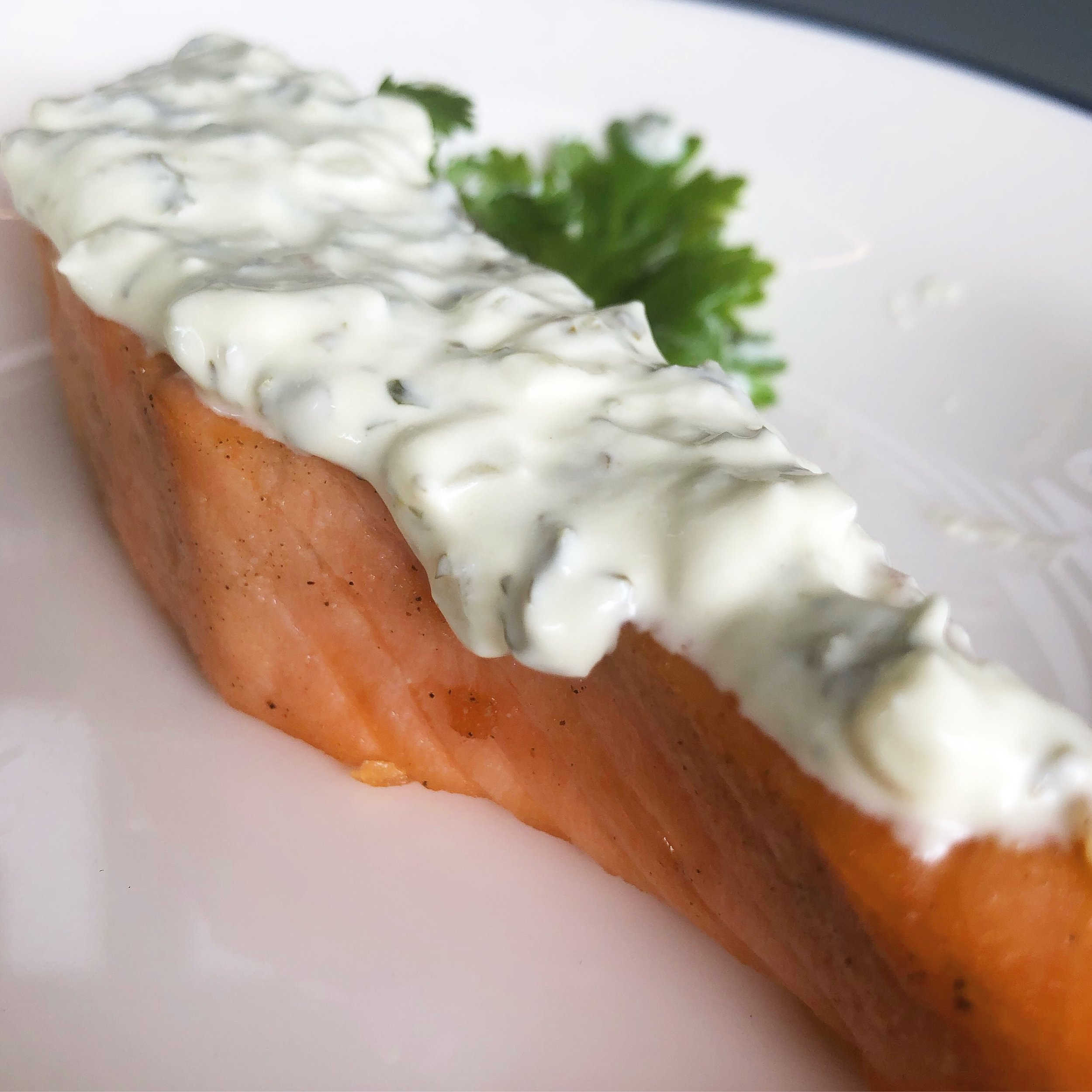 Salmon w/ Sour cream - Norwegian Salmon pan fried in olive oil and served with a sour cream sauceExtra 50 baht per piece